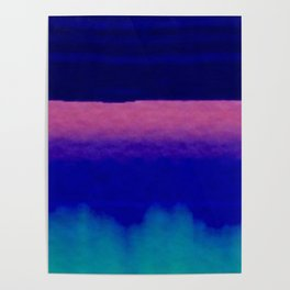 Midnight Blue Pink and Teal Abstract Art Poster