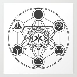 Metatron's Cube with Platonic Solids and Seed of Life Art Print