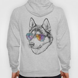 Husky Dog Graphic Art Print. Husky in glasses Hoody