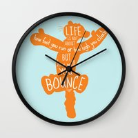 tigger Wall Clocks featuring Life is about ... How Well You Bounce - Winnie the Pooh / Tigger inspired Print by Kitchen Bath Prints