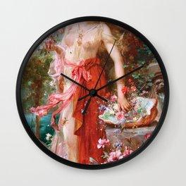 At The Flower Garden - Hans Zatzka Wall Clock