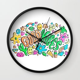 Good Vibes Doodle Wall Clock