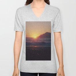 Crash into me - Romantic Sunset @ Beach #1 #art #society6 Unisex V-Neck