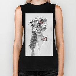 woman with flowers and butterflies 9a Biker Tank