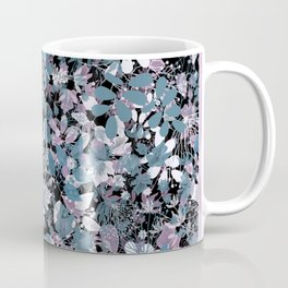 Openwork blue and purple leaves on a black background . Coffee Mug