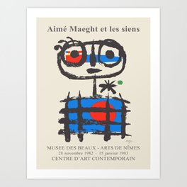 Joan Miro. Exhibition poster for Musee des Beaux-Arts in Nimes, 1982-1983. Art Print