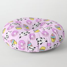 Cute funny Kawaii chibi little playful baby panda bears, happy sweet donuts and adorable yummy cupcakes light pastel pink pattern design. Nursery decor. Floor Pillow