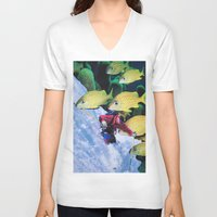 skiing V-neck T-shirts featuring Water Skiing by John Turck
