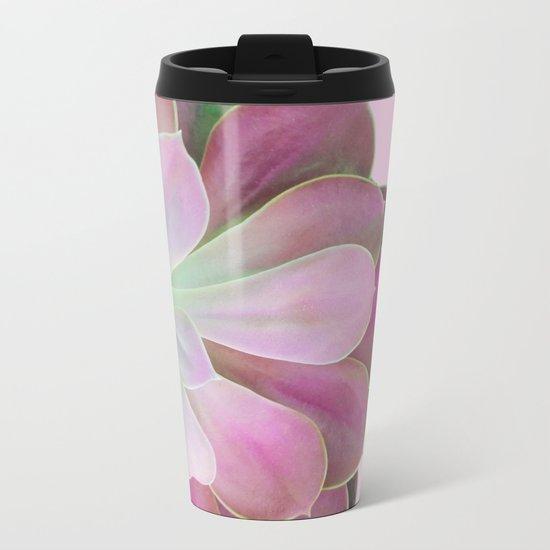 Acid Green and Pink Echeveria Metal Travel Mug