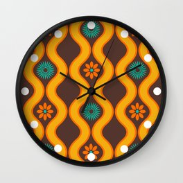1970's Design Brown Orange Blue Wall Clock