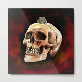 Cracked skull with mouse Metal Print