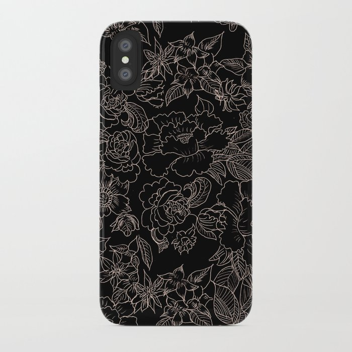 pink coral tan black floral illustration pattern iphone case