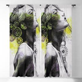 Burnt By The Sun (street art woman portrait with mandalas) Blackout Curtain