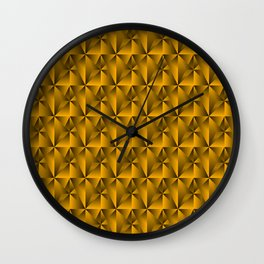 Intersecting bright gold rhombs and black triangles with square volume. Wall Clock