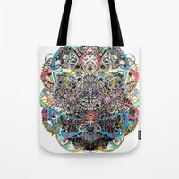 mask Tote Bags featuring Mask by Nicole Linde