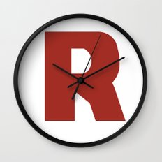 Letter R on White Wall Clock