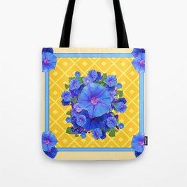 Blue Morning Glories & Gold  Patterns Art Tote Bag