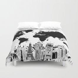 world map city skyline 4 Duvet Cover