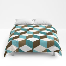 Cubes Pattern Teals Browns Cream White Comforters