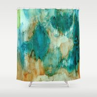 waterfall Shower Curtains featuring Waterfall by Rosie Brown