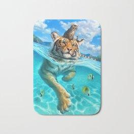 A small swim for a tiger Bath Mat