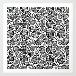 Paisley (Black & White Pattern) Art Print