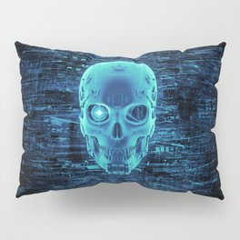 Gamer Skull BLUE TECH / 3D render of cyborg head Pillow Sham