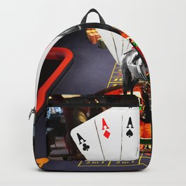 racehorse cards roulette dice and casino gaming scene Backpack
