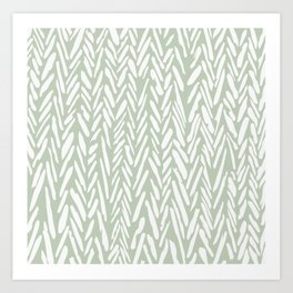 Light green herringbone pattern with cream stripes Art Print