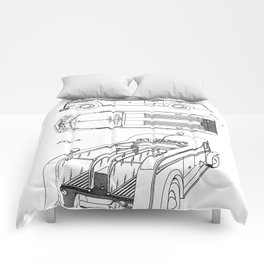 Fire Truck Patent - Fireman Art - Black And White Comforters