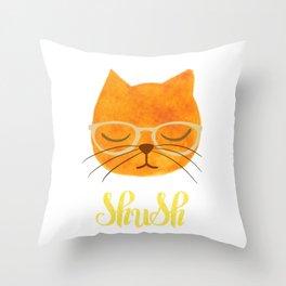 Shush - Hipster Cat in Glasses Throw Pillow