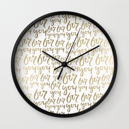 Modern faux gold white minimalist for you typography Wall Clock