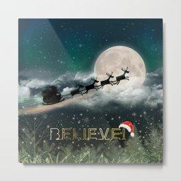 Santa's Midnight Ride Metal Print