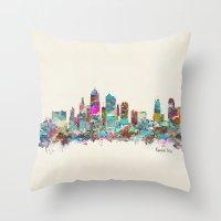 kansas city Throw Pillows featuring kansas city Missouri skyline by bri.buckley