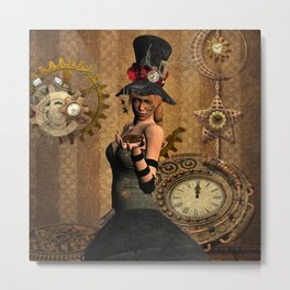 steampunk, wonderful steampunk lady with clocks and gears Metal Print