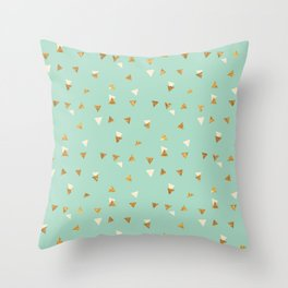 Pastel green ivory faux gold glitter abstract triangles Throw Pillow
