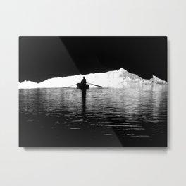 Silhouette Rowing Boat River Cave Tam Coc Vietnam Metal Print