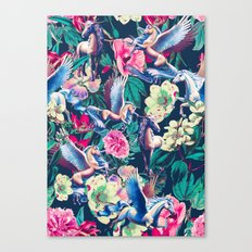 Unicorn and Floral Pattern Canvas Print