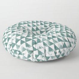 Green Tribal Triangles Floor Pillow