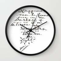dumbledore Wall Clocks featuring Happiness - Dumbledore  by Hayley Lang