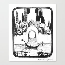 "Vintage Illustration - ""Fantasy Garden Canal Scene"" Canvas Print"