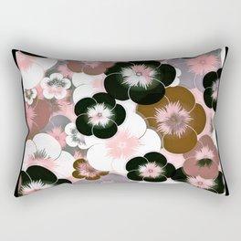 Abstract mauve pink brown black floral Rectangular Pillow