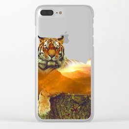 Tiger Double Exposure Clear iPhone Case