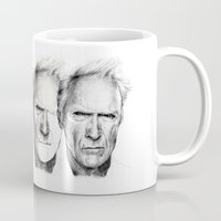 clint eastwood Mugs featuring Clint Eastwood by Chloé Arros