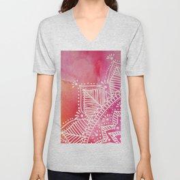 Mandala flower on watercolor background - pink Unisex V-Neck