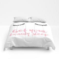 Beauty sleep Pink typography Comforters