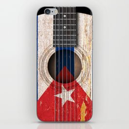 Old Vintage Acoustic Guitar with Cuban Flag iPhone Skin