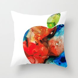 An Apple A Day - Colorful Fruit Art By Sharon Cummings Throw Pillow
