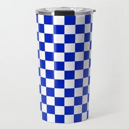 Cobalt Blue and White Checkerboard Pattern Travel Mug