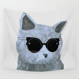 Low poly hipster british cat Wall Tapestry